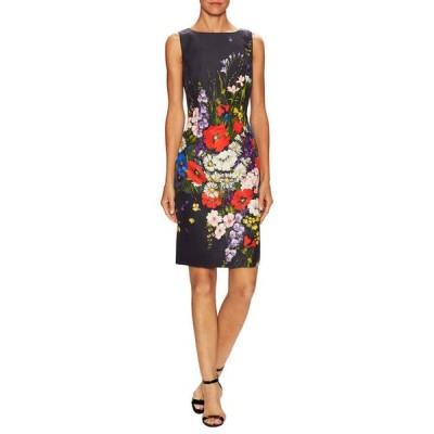 ワンピース オスカーデラレンタ Oscar de la Renta Navy Blue Floral Bouquet-Print SILK FAILLE DRESS 0 2