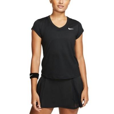 ナイキ Tシャツ トップス レディース Women's Court Dri-FIT Tennis T-Shirt Black/white