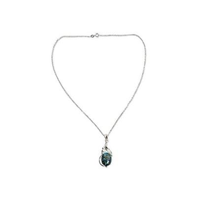 海外輸入品NOVICA Reconstituted Turquoise .925 Sterling Silver Pendant Necklace, 17.75