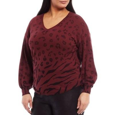 デモクラシー レディース ニット&セーター アウター Plus Size Mixed Animal Ombre Print V-Neck Blouson Sleeve Rib Hem Sweater Zinfandel