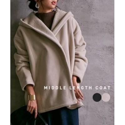コート レディース さらっと羽織れる ボンディング ミドル丈 グレージュ/黒 M/L ニッセン