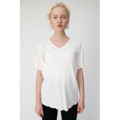 【マウジー】 V NECK FLARE RIB Tシャツ レディース O/WHT1 FREE MOUSSY