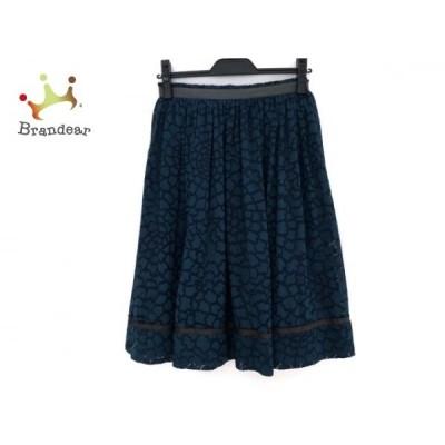 トゥービーシック スカート サイズ40 M レディース - グリーン×黒 ひざ丈/シースルー   スペシャル特価 20200622