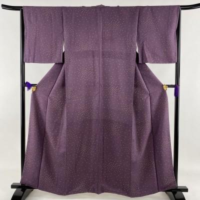 小紋 優品 小花 地紋 紫 袷 身丈159.5cm 裄丈65cm M 正絹 中古