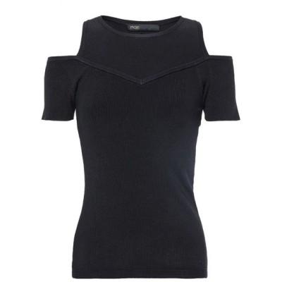 マージュ MAJE レディース ニット・セーター オフショルダー トップス Cold-shoulder ribbed and stretch-knit top Black