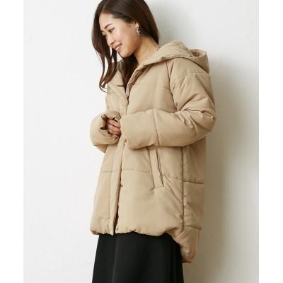 お尻が隠れる安心丈♪ゆったりシルエットフード付中綿コート (コート)(レディース)Coat