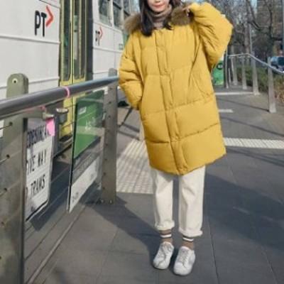 冬物 トレンド ダウン 中綿 コート アウター フード ファー ジップアップ 防寒 シンプル 着痩せ hf1080