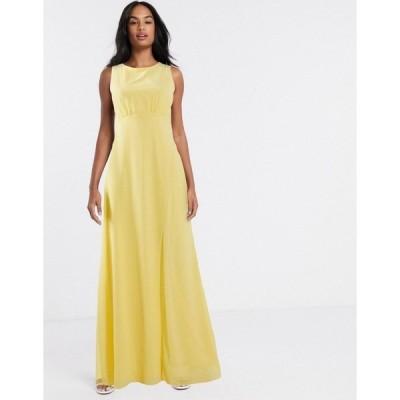 ティエフエヌシー レディース ワンピース トップス TFNC bridesmaid cowl back maxi dress in lemon Lemon