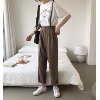 韓国 ファッション レディース パンツ サスペンダー付き ハイウエスト テーパードパンツ リボン カジュアル 大人可愛い シンプル