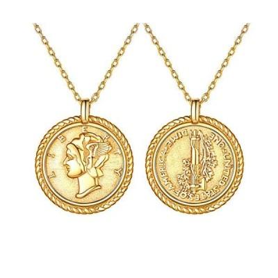 Silvora マーキュリーダイム 自由の女神 アメリカ コイン ネックレス レディース ゴールド k18金 メンズ ペンダント アレルギー