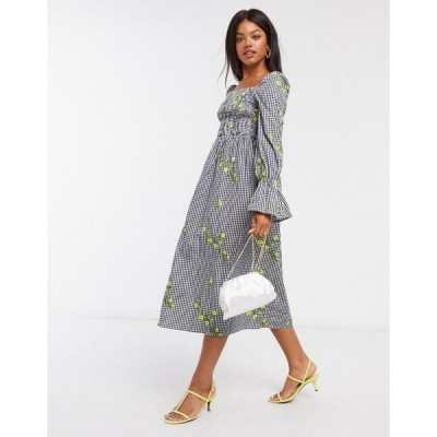 ネバーフリードレスド レディース ワンピース トップス Never Fully Dressed square neck floral embroidered midi dress in mono gingham Multi