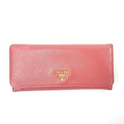 【中古】プラダ 二つ折り長財布 サフィアーノ ピンク系