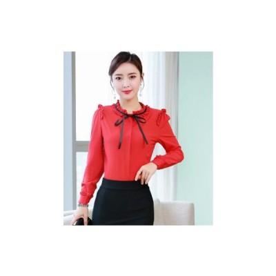 レディース シャツ  ブラウス 赤 きれいめ トップス 女性  シャツ  おしゃれ 通勤 通学 オフィス ファッション 人気長袖