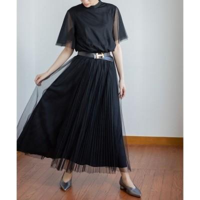 ドレス チュールプリーツワンピースドレス
