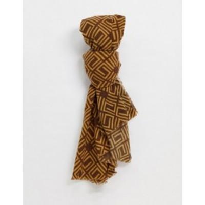 エイソス レディース マフラー・ストール・スカーフ アクセサリー ASOS DESIGN monogram print long scarf in multi Multi