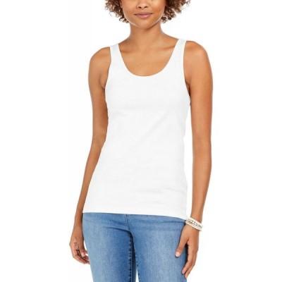 スタイル&コー Style & Co レディース タンクトップ トップス Petite Cotton Tank Top Bright White