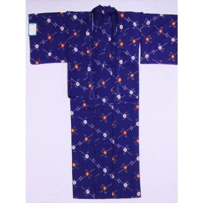 着物セット(ウール・着物・羽織り) sk-37 紺地・椿柄 女性用・M寸