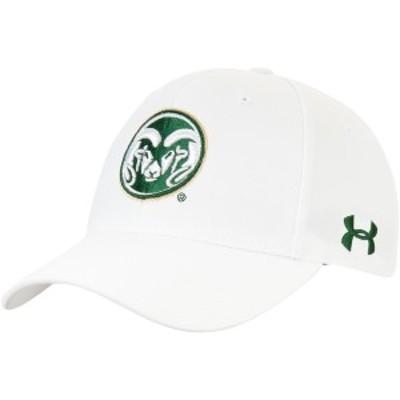 アンダーアーマー メンズ 帽子 アクセサリー Colorado State Rams Under Armour Classic Structured Adjustable Hat White