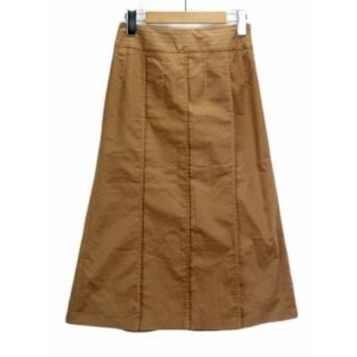 【中古】自由区 オンワード樫山 スカート ロング タック ステッチ 38 茶 ブラウン レディース