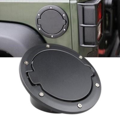 ジープラングラーJKとJK無制限ブラックステンレスガスキャップカバー2ドアと4ドアガスタンクキャップカバードア燃料フィラードア