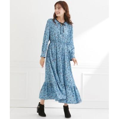 大きいサイズ フェミニンストーリー フラワープリントワンピース ,スマイルランド, ワンピース, plus size dress
