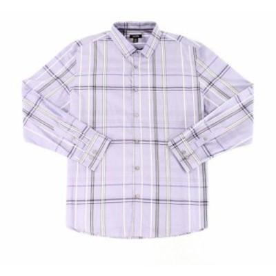 Alfani  ファッション アウター Alfani NEW Purple Mens Size Large L Plaid Print Button Down Shirt
