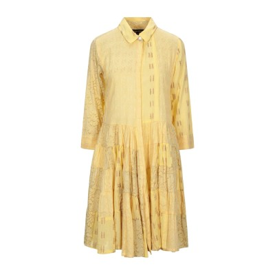 GIORGIA  & JOHNS ミニワンピース&ドレス イエロー S コットン 100% ミニワンピース&ドレス