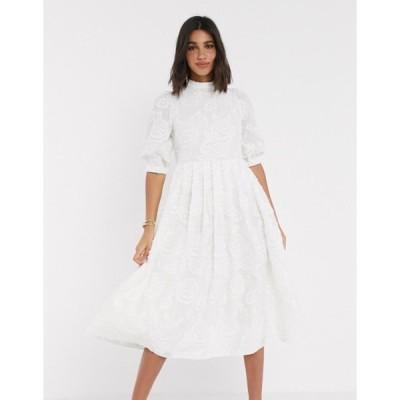 エイソス レディース ワンピース トップス ASOS DESIGN Premium broderie midi smock dress with lace up back in cream