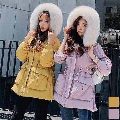 ダウンコート フォックスファー フード Aライン ミディアム コート ピンク イエロー カラシ 黄色 女優 お嬢様 DN1DDW013