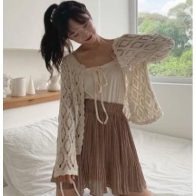 韓国 ファッション レディース トップス カーディガン クロシェ ニット アウター 羽織 透け感 ゆったり 長袖 リゾート 大人可愛い カジュ
