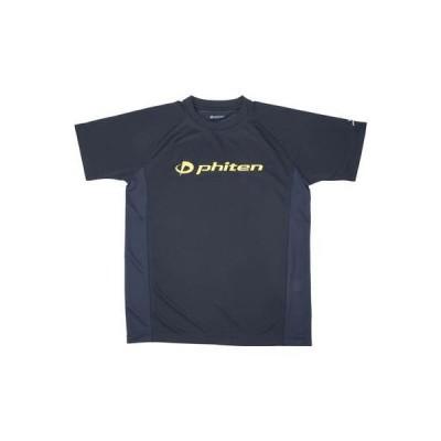 phiten ファイテン RAKUシャツ SPORTS(SMOOTH DRY) 半袖 ネイビー ロゴイエロー XO JG351007