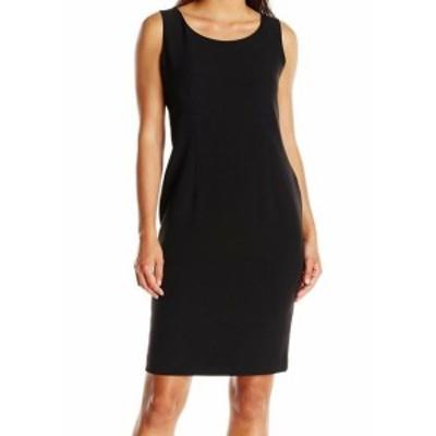 ファッション ドレス Kasper NEW Black Womens Size 14P Petite Seamed Solid Sheath Dress