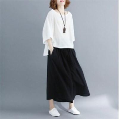 パンツレディースワイドパンツボトムス夏綿麻 ファッション 9分丈 ゆったりカジュアル 着痩せ