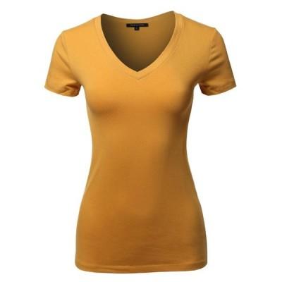 レディース 衣類 トップス FashionOutfit Women's Basic Cotton V-Neck Short Sleeve Top グラフィックティー