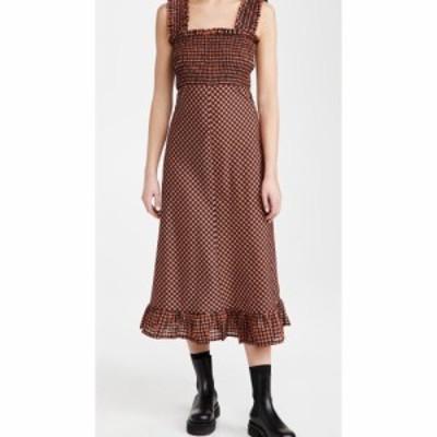 ガニー GANNI レディース ワンピース ワンピース・ドレス Seersucker Check Dress Flame