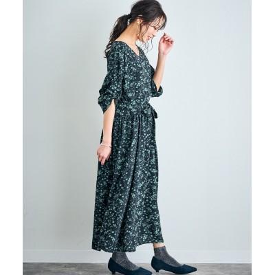 【選べる大人柄】袖ロールアップロングワンピース (ワンピース)Dress