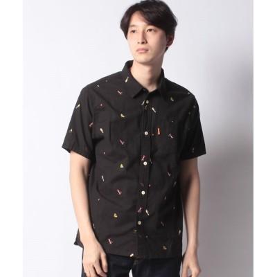 【クリフメイヤー】 総柄刺繍キャンプ半袖シャツ メンズ ブラック M KRIFF MAYER