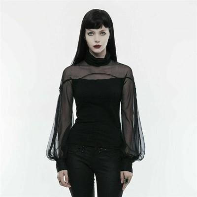 トップス Black PUNK RAVE Women Gothic Imitation Silk Ribbon Perspective Lantern Sleeve T-shirt