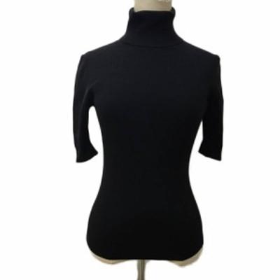 【中古】エポカ セーター カットソー プルオーバー ニット タートルネック リブ ウール 無地 半袖 40 黒 ブラック