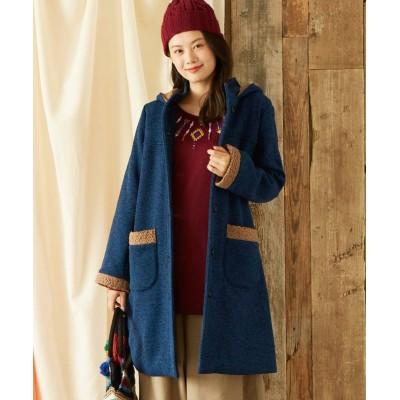【大きいサイズ】 ボア使いロングコート コート, plus size coat