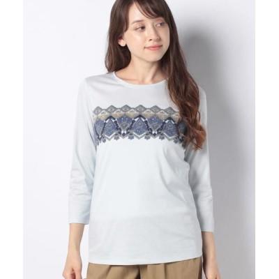 Leilian/レリアン 刺繍Tシャツ サックス2 11