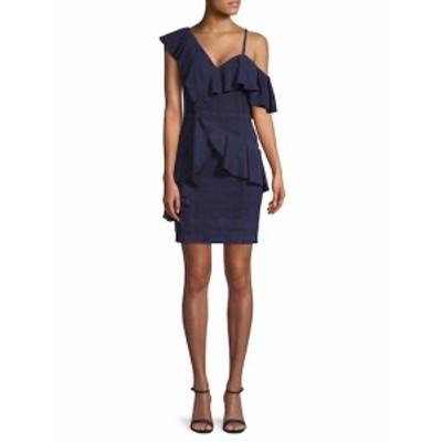 アリス+オリビア レディース ワンピース Suede One-Shoulder Ruffle Dress