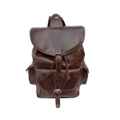 Joseph Hanna Large Leather Backpack | Made in NYC | Est. 1962 (Brown)並行輸入品