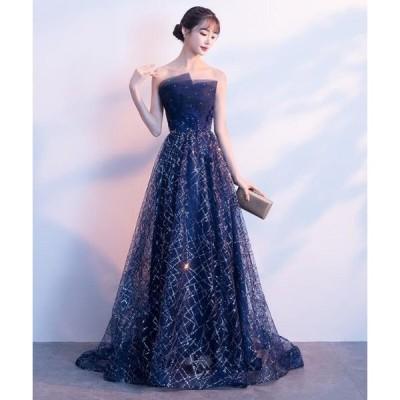 【カラードレス】ロングドレス/ウェディングドレス/パーティードレス/レース/刺繍/編み上げタイプ/【藍色】【S−XLサイズ】hslf221