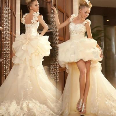 ミニドレス 花嫁ドレス パーティードレス ウェディングドレス カラードレス ショートドレス ワンピース フォーマル お呼ばれドレス 結婚式[ホワイト]