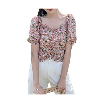 [TaiShan] レディース シフォンシャツ 着痩 トップス フランス風 デート 旅行 花柄 ショート フリル付き オフショ