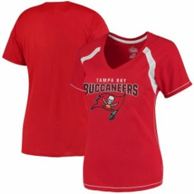 Majestic マジェスティック スポーツ用品  Majestic Tampa Bay Buccaneers Womens Red Plus Size Game Day V-Neck T-Shirt