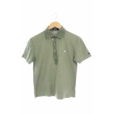 【中古】バーバリーブラックレーベル BURBERRY BLACK LABEL ポロシャツ 半袖 2 カーキ /MY メンズ