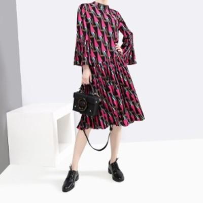 モード系 春 ワンピース 膝下丈 フレアスカート 袖コン 幾何学模様 大人きれいめ 上品 オルチャン系 20代 30代