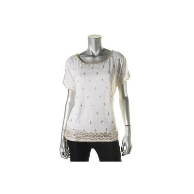 トップス&ブラウス Moon & Meadow Moon Meadow 6933 レディース ホワイト Linen 半袖 プルオーバーTop Shirt L BHFO